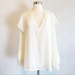a new day Cream Blouse with Ruffled Sleeves